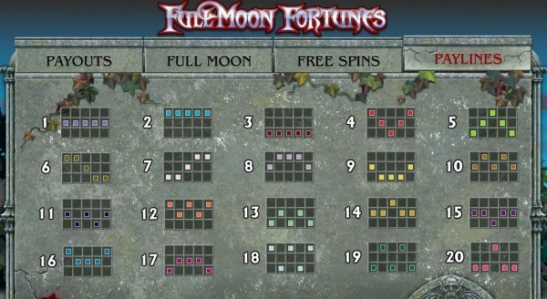 Full Moon Fortunes Paylines
